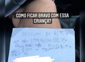 Bilhete de criança pedindo desculpas por ter riscado um veículo em Curitiba viraliza nas redes sociais