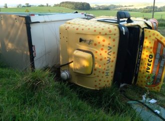 Para evitar colisão, motorista tomba caminhão em Palmeira