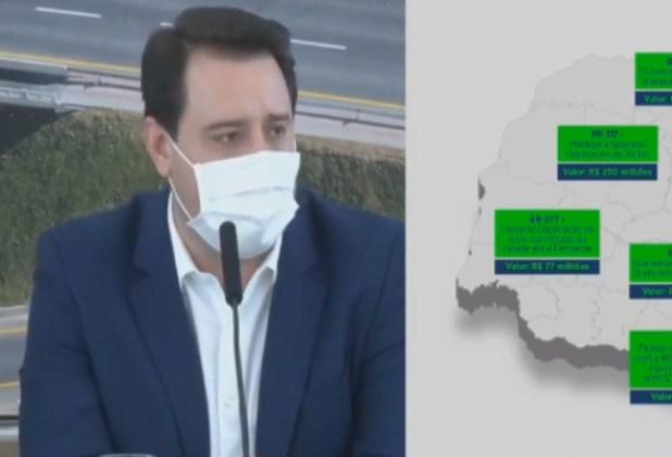 Vídeo: Ratinho Junior anuncia mais de R$ 1,6 bi para obras no Paraná